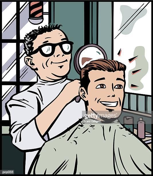 ilustrações de stock, clip art, desenhos animados e ícones de man getting haircut - cabelo liso