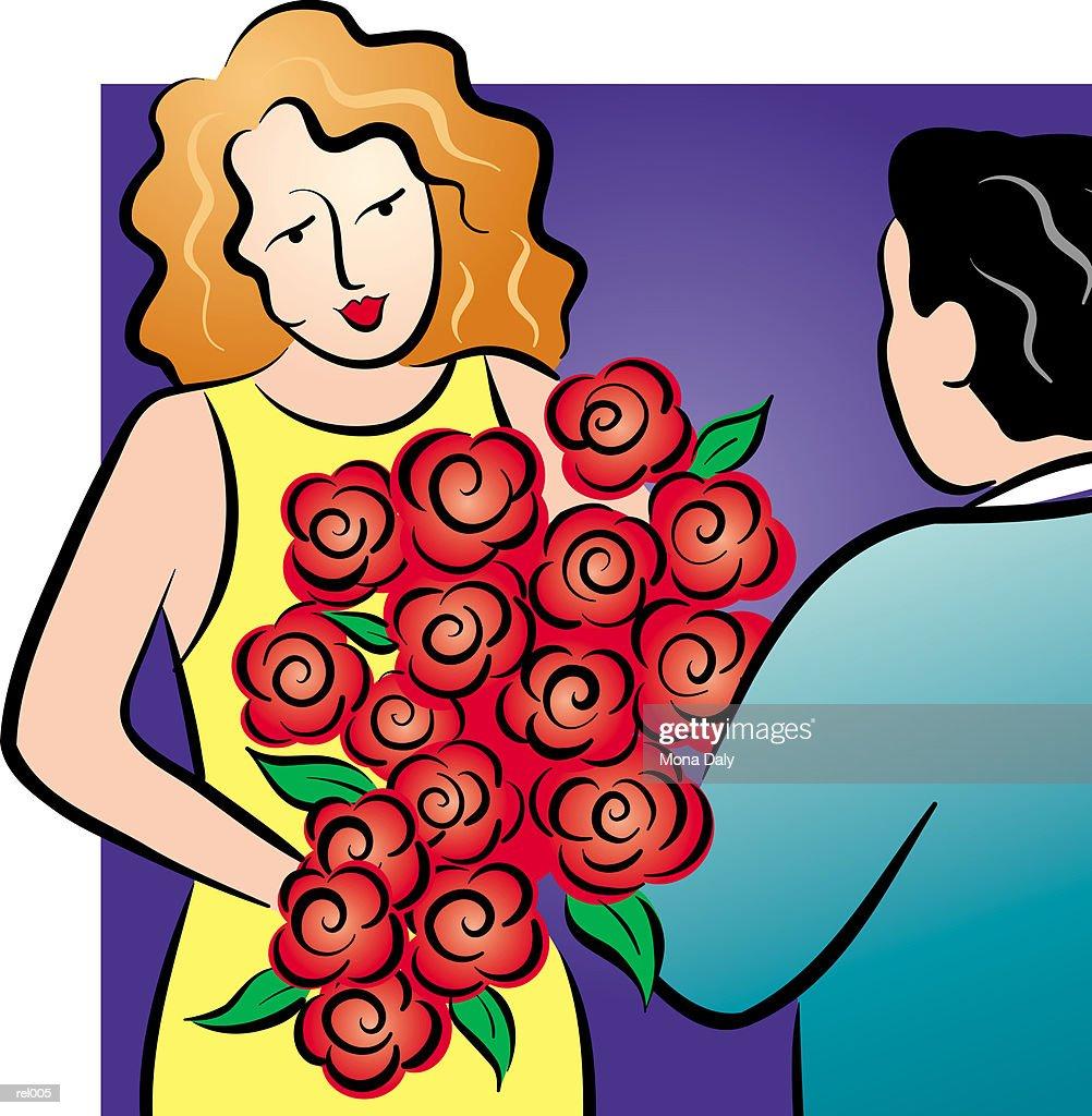 Man Giving a Woman Flowers : Ilustração de stock