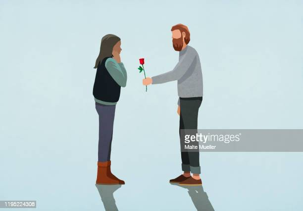 man giving rose to surprised girlfriend - giving stock illustrations