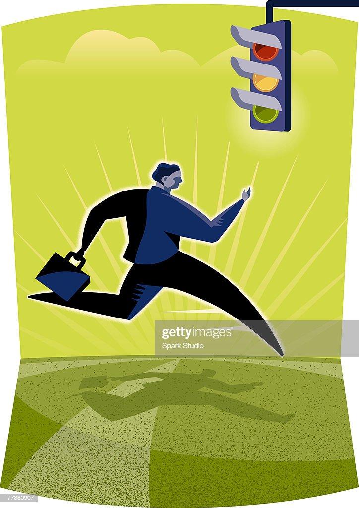 A man going through a stop light : Illustration