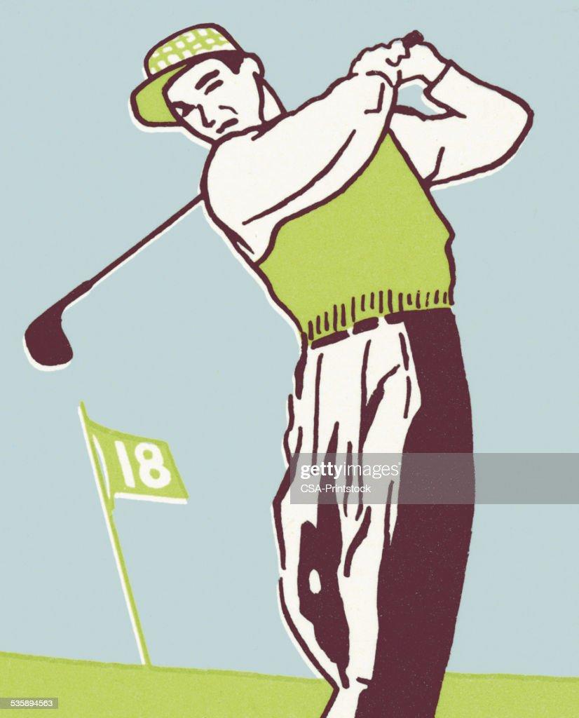 Uomo giocando a golf : Illustrazione stock