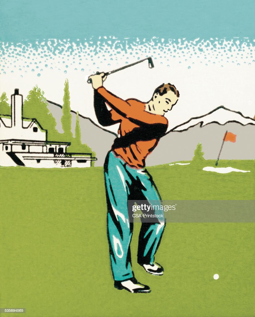 Man Golfing : Stockillustraties