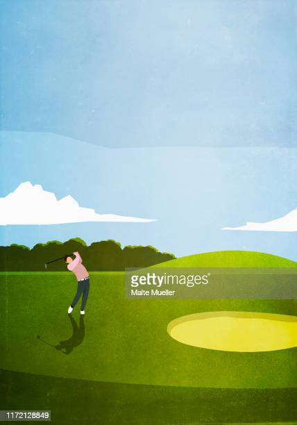man golfing on sunny golf course - front view stock illustrations