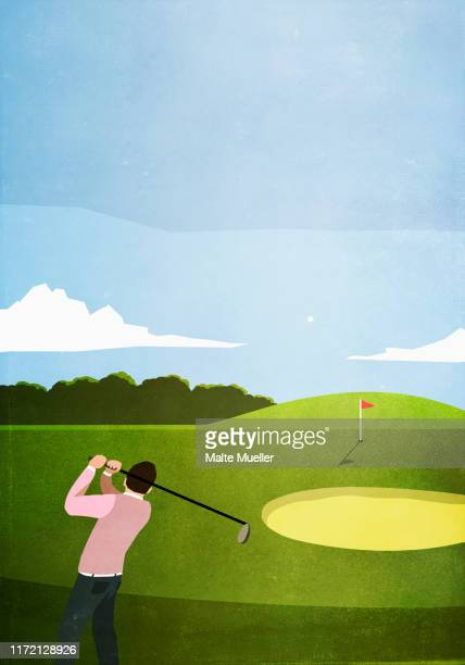 man golfing on sunny golf course - vertical stock illustrations