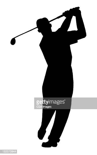 man golfing silhouette - golf swing stock illustrations, clip art, cartoons, & icons