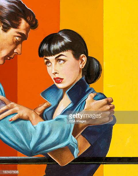 man grabbing woman by the shoulders - updo stock illustrations, clip art, cartoons, & icons