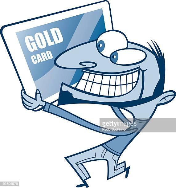 ilustrações de stock, clip art, desenhos animados e ícones de a man grinning and holding a large credit card - buchinho