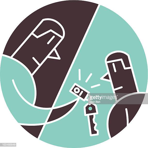 man handing car keys to another car - car ownership stock illustrations, clip art, cartoons, & icons