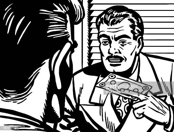 man handing money to another man - blinds stock illustrations, clip art, cartoons, & icons