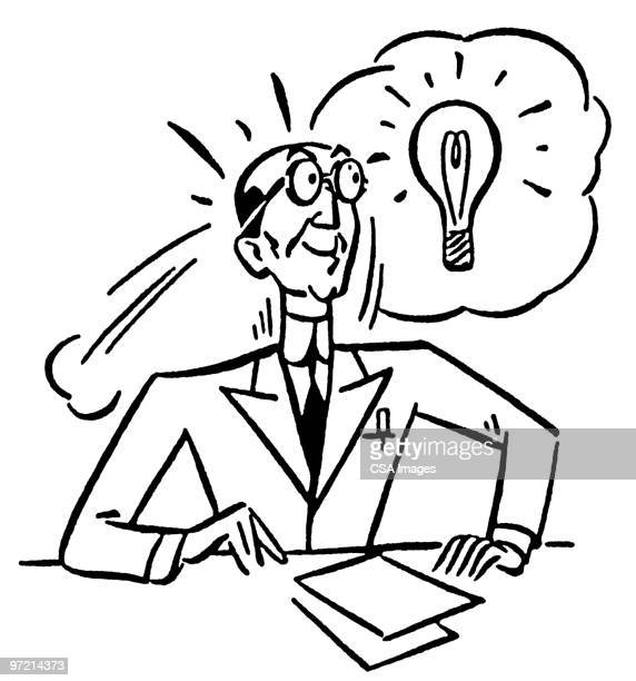 man has an idea - thought bubble stock illustrations
