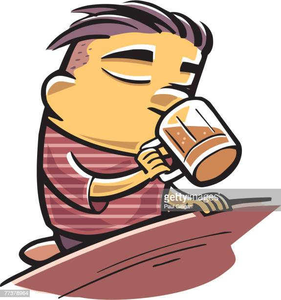 man having a pint of beer - lager stock illustrations, clip art, cartoons, & icons