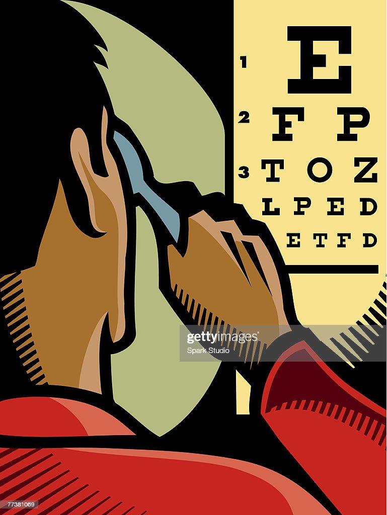 A man having an eye examination : Illustration