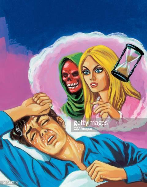 ilustraciones, imágenes clip art, dibujos animados e iconos de stock de hombre tener mala dream - la muerte