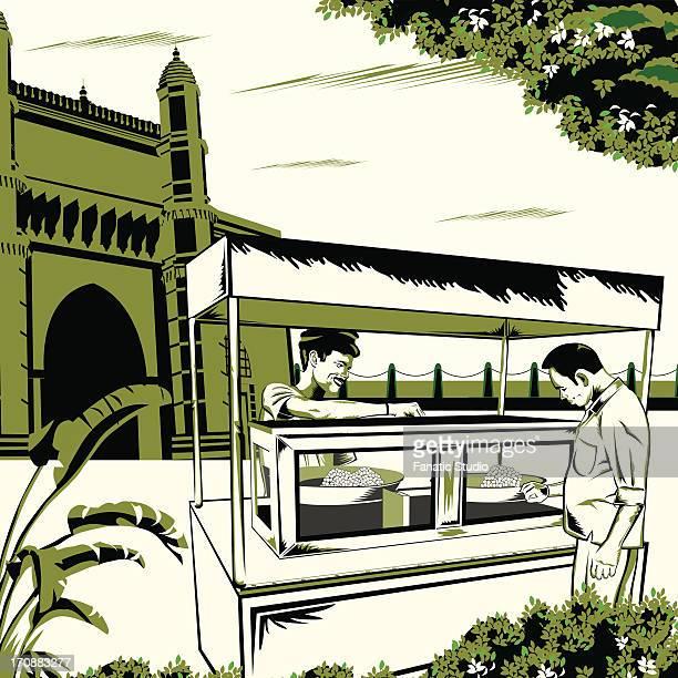 ilustraciones, imágenes clip art, dibujos animados e iconos de stock de man having indian snack at a food stall, gateway of india, mumbai, maharashtra, india - puesto de mercado