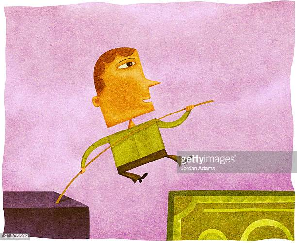 a man high jumping over a gap onto a bank note - pole vault stock illustrations