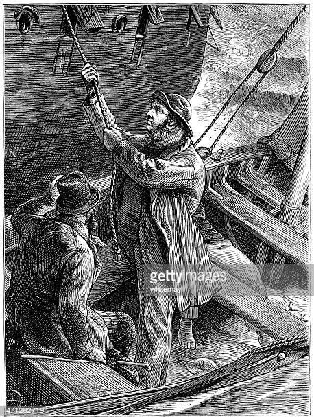 Man hoisting himself aboard a ship