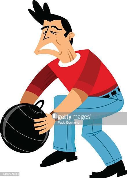 ilustrações de stock, clip art, desenhos animados e ícones de a man holding a bomb - buchinho