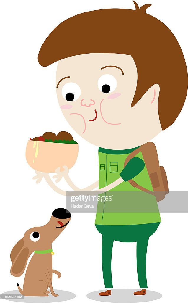 A man holding a bowl of food over a dog : stock illustration