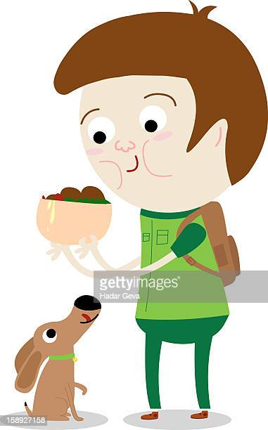 a man holding a bowl of food over a dog - dog bowl stock illustrations, clip art, cartoons, & icons