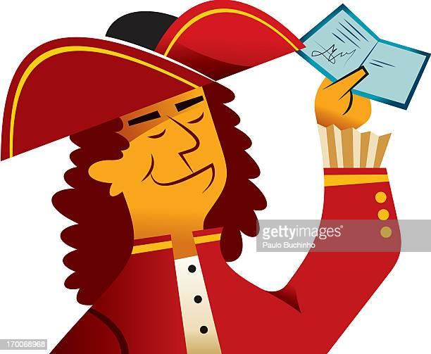 ilustrações de stock, clip art, desenhos animados e ícones de a man holding a certificate - buchinho