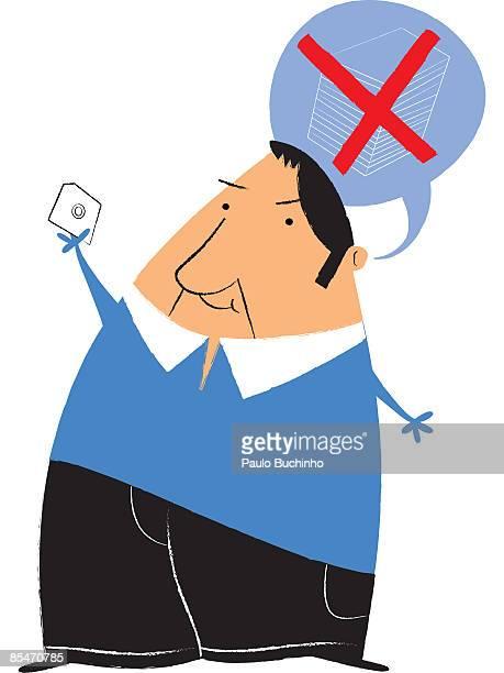 ilustrações de stock, clip art, desenhos animados e ícones de a man holding a diskette instead of a stack of papers - buchinho