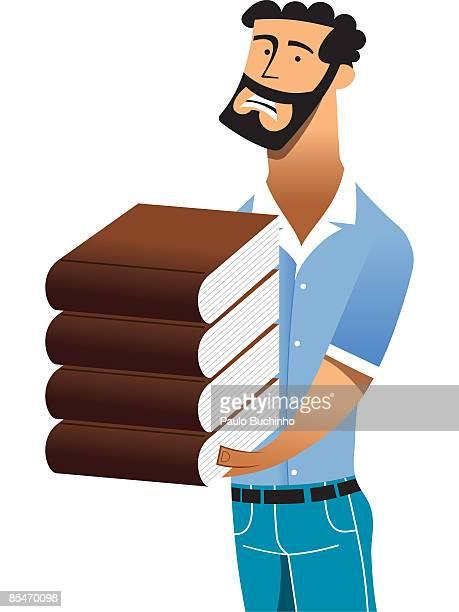 ilustrações de stock, clip art, desenhos animados e ícones de a man holding a heavy stack of books - buchinho