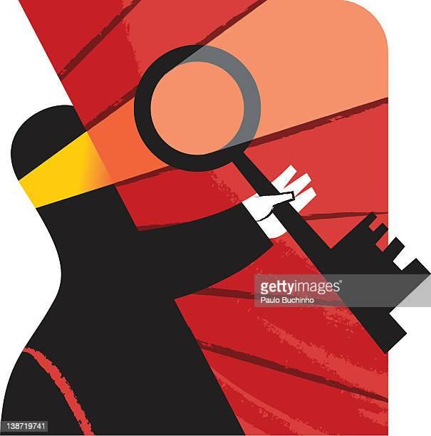 ilustrações de stock, clip art, desenhos animados e ícones de a man holding a key - buchinho