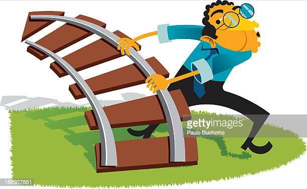 ilustrações de stock, clip art, desenhos animados e ícones de a man holding a piece of a rail road track - buchinho