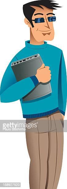 ilustrações de stock, clip art, desenhos animados e ícones de a man holding a piece of equipment - buchinho