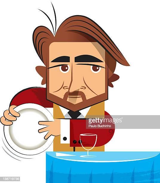 ilustrações de stock, clip art, desenhos animados e ícones de a man holding a plate - buchinho