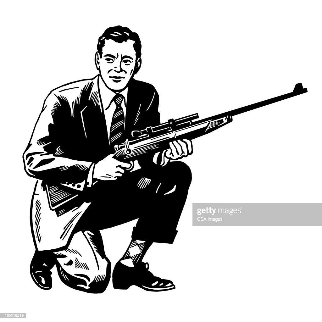 Man Holding a Rifle : Stock Illustration