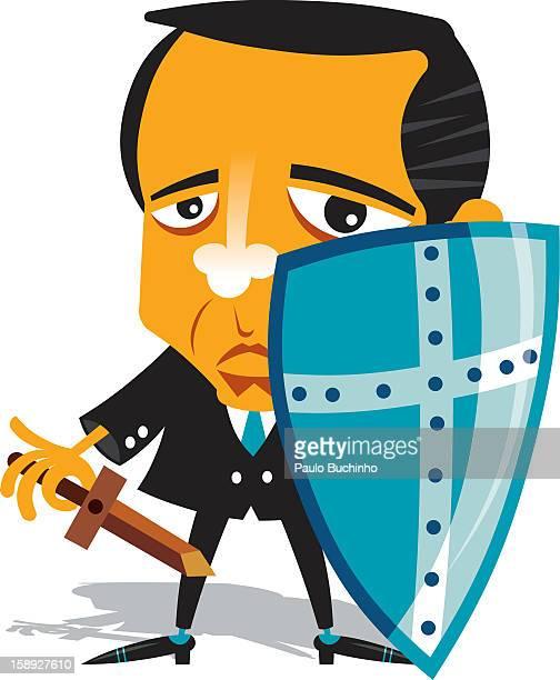 ilustrações de stock, clip art, desenhos animados e ícones de a man holding a shield - buchinho