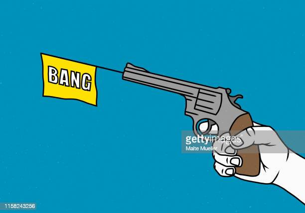 man holding a toy gun - handgun stock illustrations