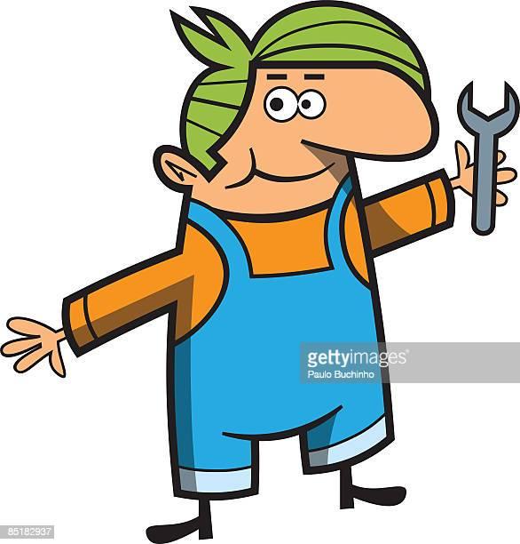 ilustrações de stock, clip art, desenhos animados e ícones de a man holding a wrench - buchinho