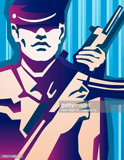 Man holding automatic rifle