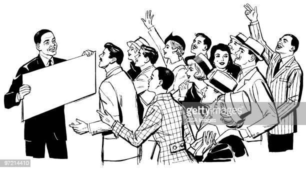 man holding blank sign - surprise stock illustrations