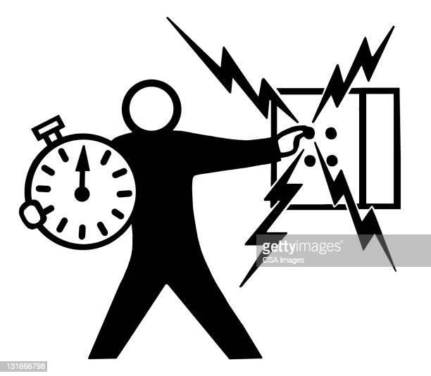 man holding clock - deadline stock illustrations