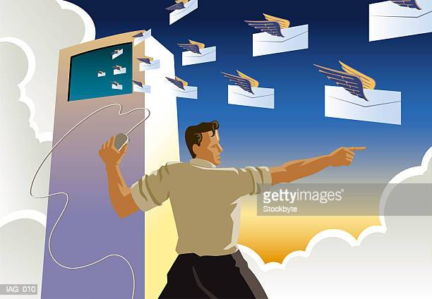 Man holding computer mouse, directing squadron of envelopes