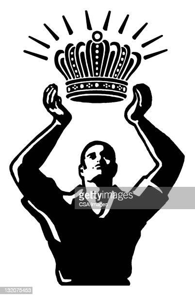 man holding crown - masculinity stock illustrations, clip art, cartoons, & icons