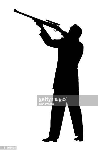 man holding gun - rifle stock illustrations, clip art, cartoons, & icons