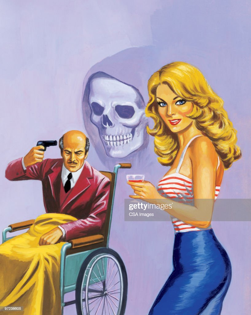 Man Holding Gun to his Head and Woman : stock illustration