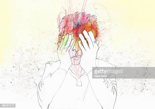 illustrations, cliparts, dessins animés et icônes de a man holding his face in his hands - stress