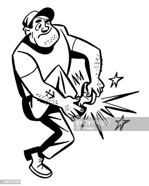 man holding hurt foot - standing on one leg stock illustrations, clip art, cartoons, & icons