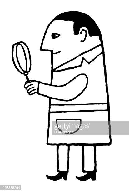 man holding magnifying glass - inspector stock illustrations, clip art, cartoons, & icons