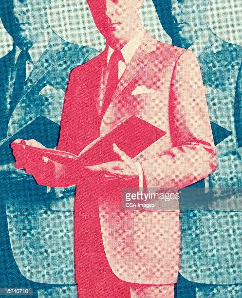 man holding open book repeated - mid section stock illustrations