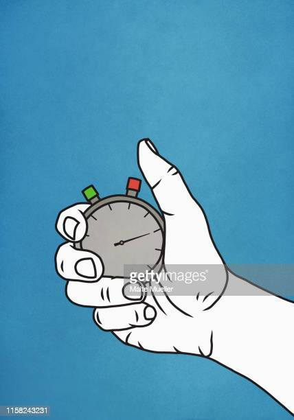 man holding stopwatch - unrecognisable person stock illustrations