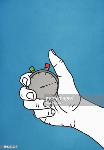 man holding stopwatch - touching stock illustrations