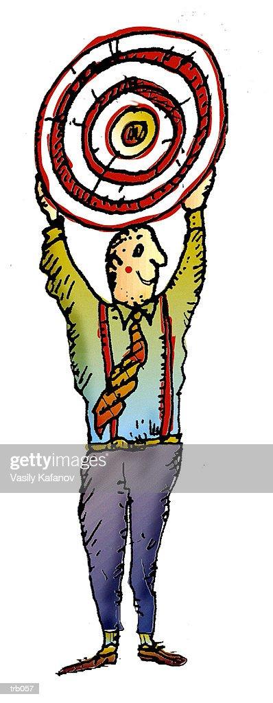 Man Holding Target : Stock Illustration