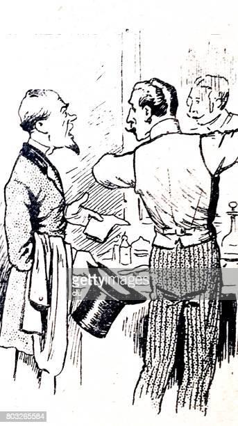 illustrations, cliparts, dessins animés et icônes de homme tenant le chapeau haut de forme parler chez le barbier dans le salon de coiffure - coiffeur humour