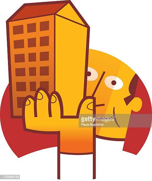ilustrações de stock, clip art, desenhos animados e ícones de a man holding up a building - buchinho